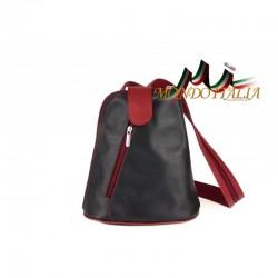 Taliansky kožený batoh 1083 čierny+červená MADE IN ITALY