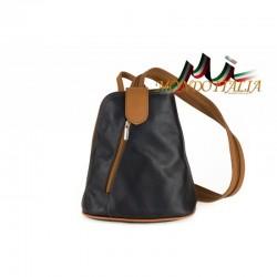Taliansky kožený batoh 1083 čierny+koňak MADE IN ITALY