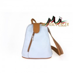 Taliansky kožený batoh 1083 nebesky modrý MADE IN ITALY
