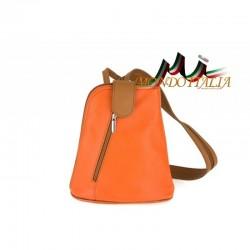 Taliansky kožený batoh 1083 oranžový MADE IN ITALY