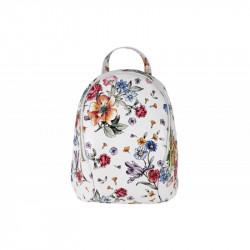 Taliansky kožený batoh biely kvetovaný, biela