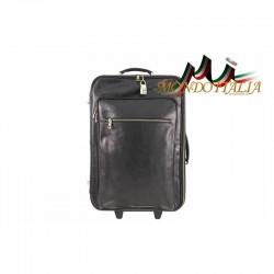 Taliansky kožený kufor na kolieskach 5005 čierny MADE IN ITALY 5005