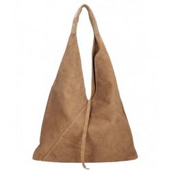 Tmavá šedohnedá kožená kabelka na rameno v úprave semiš 184, Šedohnedá