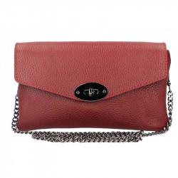 Tmavočervená kožená kabelka na rameno MADE IN ITALY, Farba červená MADE IN ITALY 5303