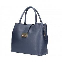 Tmavomodrá kožená kabelka 5307, Modrá
