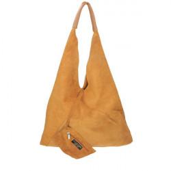 Tmavomodrá kožená kabelka na rameno v úprave semiš 184, Modrá #2