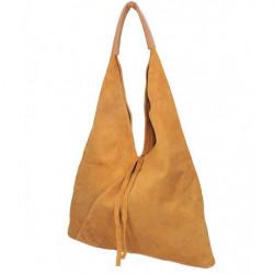 Tmavomodrá kožená kabelka na rameno v úprave semiš 184, Modrá #3