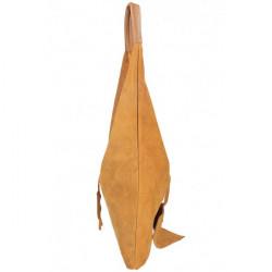 Tmavomodrá kožená kabelka na rameno v úprave semiš 184, Modrá #4