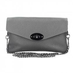 Tmavošedá kožená kabelka na rameno MADE IN ITALY, Farba šedá MADE IN ITALY 5303