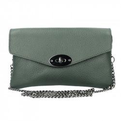 Tmavozelená kožená kabelka na rameno MADE IN ITALY, Farba zelená MADE IN ITALY 5303