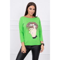 Tričko s farebnou potlačou MI64633 zelené, Uni, Zelená