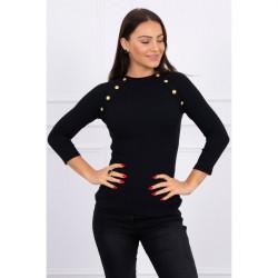 Tričko s ozdobnými gombíkmi MI5197 čierne, Uni, Čierna