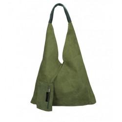 Vojensky zelená kožená kabelka na rameno v úprave semiš 184 Zelená