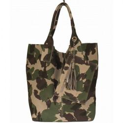 Vojensky zelená kožená kabelka v úprave semiš 804 Zelená