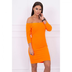 Vrúbkované šaty s výstrihom MI8974 oranžový neón Univerzálna Oranžová/neón