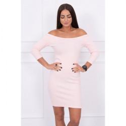 Vrúbkované šaty s výstrihom MI8974 pudrovo ružové Univerzálna Pudrová ružová