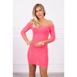 Vrúbkované šaty s výstrihom MI8974 ružový neón Univerzálna Ružová/neón