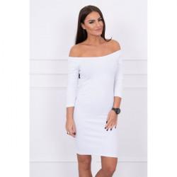 Vrúbkované šaty s výstrihom MI8974, Uni, Ružová/neón