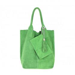 Zelená kožená kabelka v úprave semiš 804, Zelená