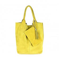 Žltá kožená kabelka v úprave semiš 804, Žltá