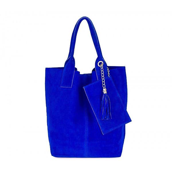 Azurovo modrá kožená kabelka v úprave semiš 804, Modrá