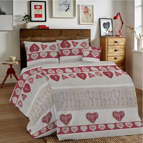 Bavlnené obliečky MIG002 Kľúče červené  Made in Italy, Červená, 140 x 200 cm