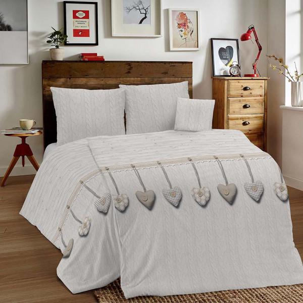 Bavlnené obliečky MIG002 Vysiace srdiečka béžové Made in Italy, Béžová, 140 x 200 cm