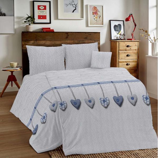 Bavlnené obliečky MIG002 Vysiace srdiečka modré Made in Italy, Modrá, 140 x 200 cm