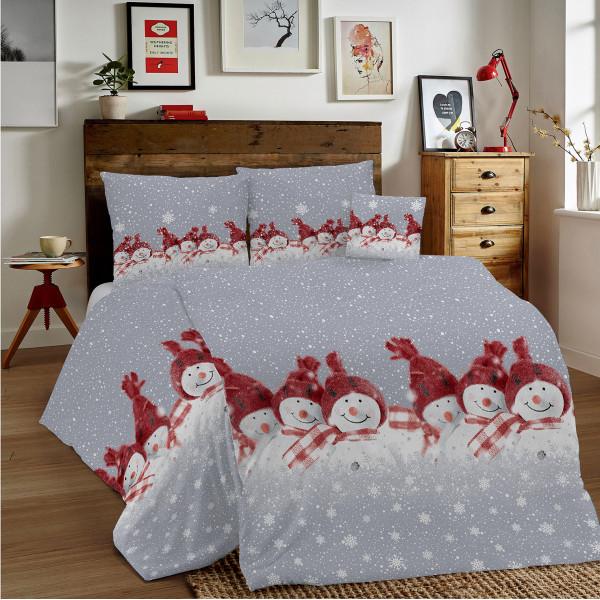 Bavlnené obliečky MIG002SN Červení snehuliaci Made in Italy, Červená, 140 x 200 cm