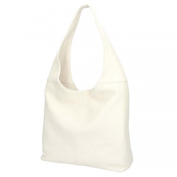 Béžová kožená kabelka na rameno 590, Béžová
