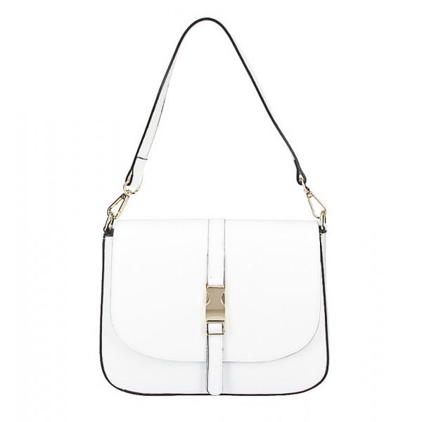 Biela kožená kabelka na rameno 589, Biela