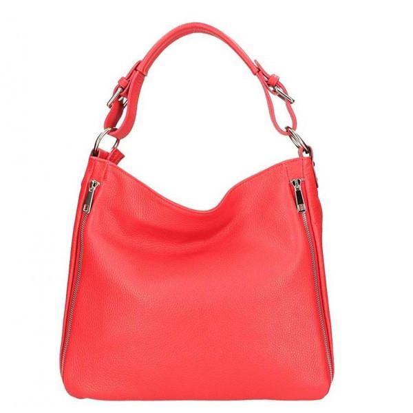 Červená kožená kabelka na rameno 5310, Červená