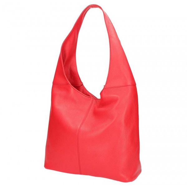 Červená kožená kabelka na rameno 590, Červená