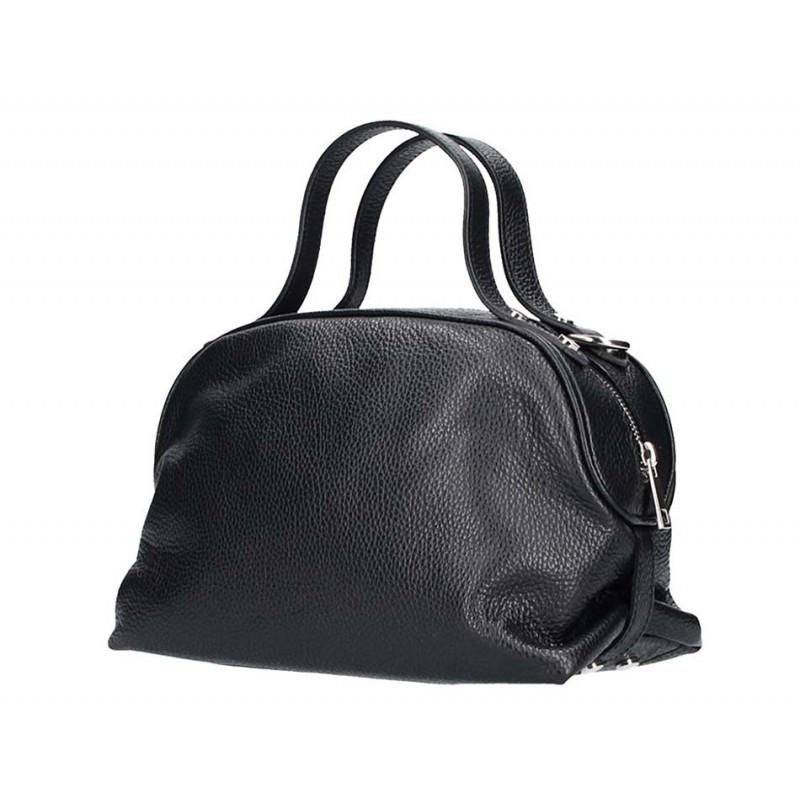 Čierna kožená kabelka 5301 MADE IN ITALY, čierna
