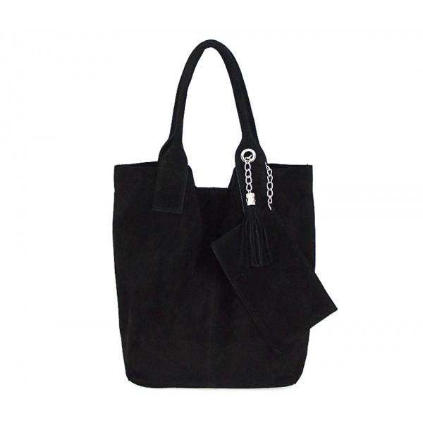 Čierna kožená kabelka v úprave semiš 804, Čierna