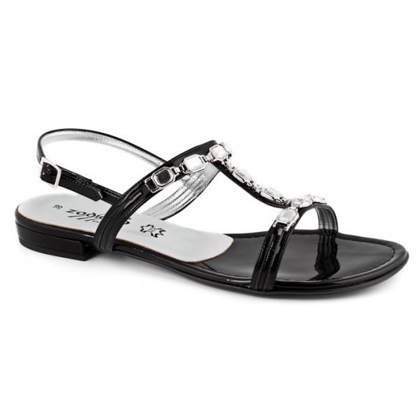 Čierne sandále zdobené kamienkami 905 ZODIACO, Čierna, 38