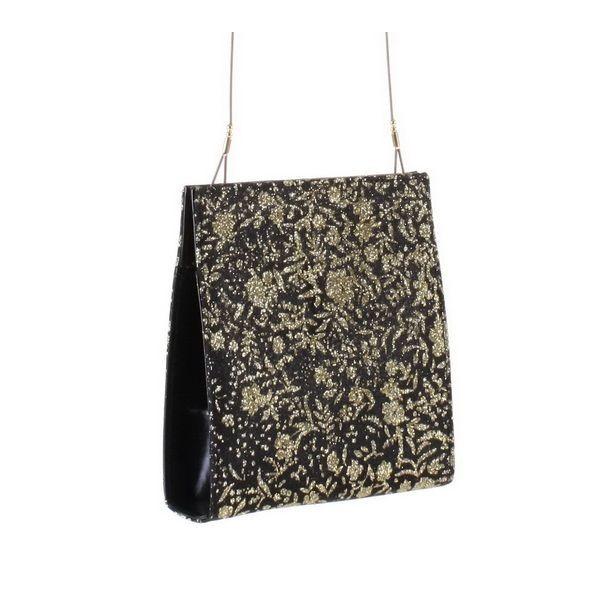 Čierno-zlatá spoločenská kabelka 397 Regina Schrecker, Čierna