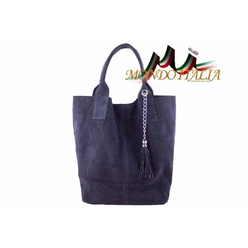 DÁMSKA KOŽENÁ KABELKA 804 modrá MADE IN ITALY 804 - Shopper kabelky ... 8786db166b4