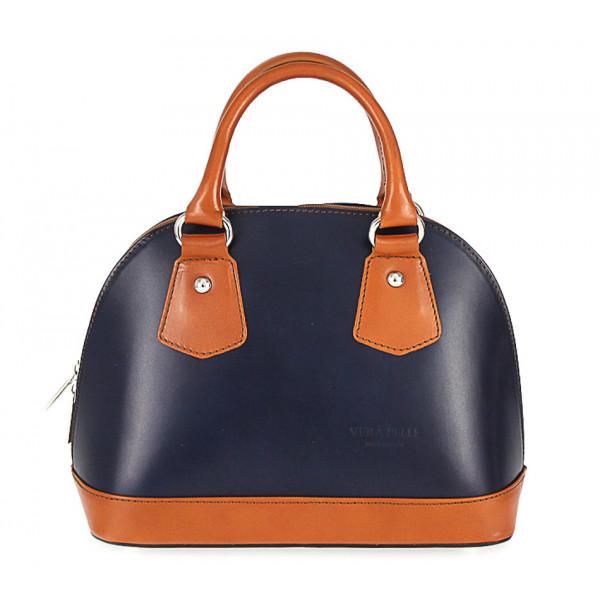 Dámska kožená kabelka 900 modrá + koňak, Modrá