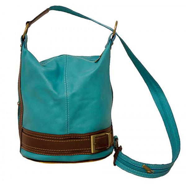 Dámska kožená kabelka/batoh 1201 tyrkysová Made in Italy, Tyrkysová