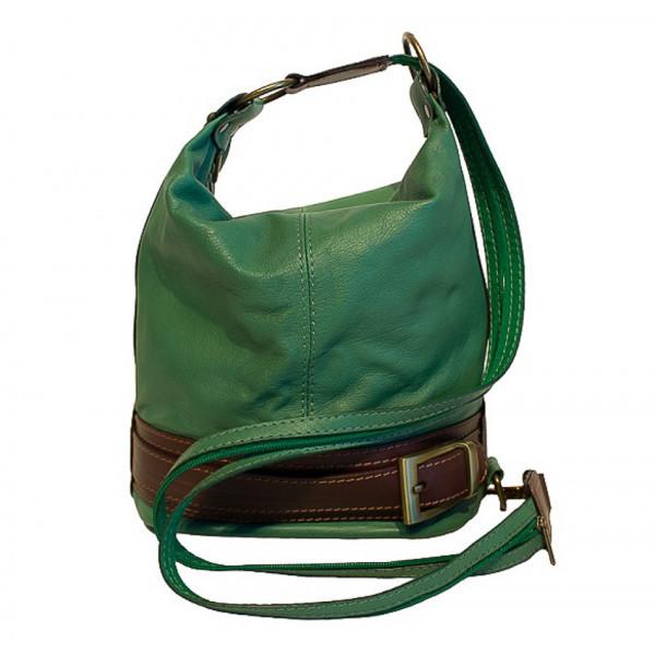 Dámska kožená kabelka/batoh 1201 zelená Made in Italy, Zelená