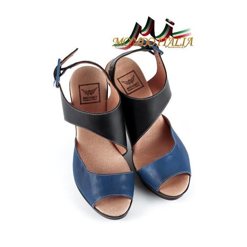 39e89ebb46 DÁMSKE KOŽENÉ SANDÁLE 1131 modré ANDIAMO 1131 - Sandále trendové ...