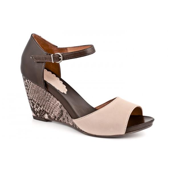 Dámske sandále na klíne 892 béžové Freemood, Béžová, 40