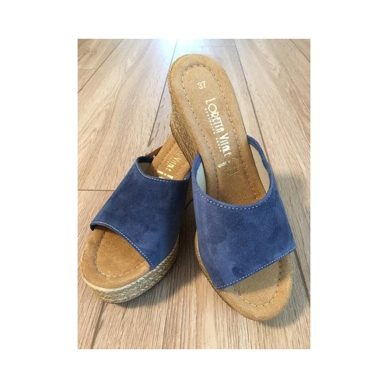 adb9c1abe9aa Dámske talianske kožené vsuvky na klíne LORETTA VITALE 44 jeans LORETTA  VITALE 44  2