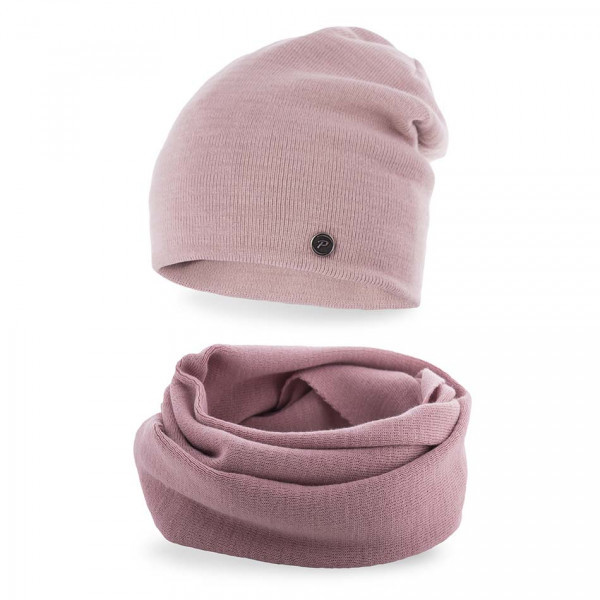 Dámsky set čiapka a nákrčník MI77 ružový, Uni, Ružová