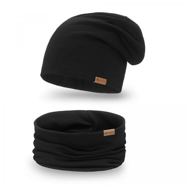 Dámsky set čiapka + nákrčník 77A čierny, Uni, Čierna