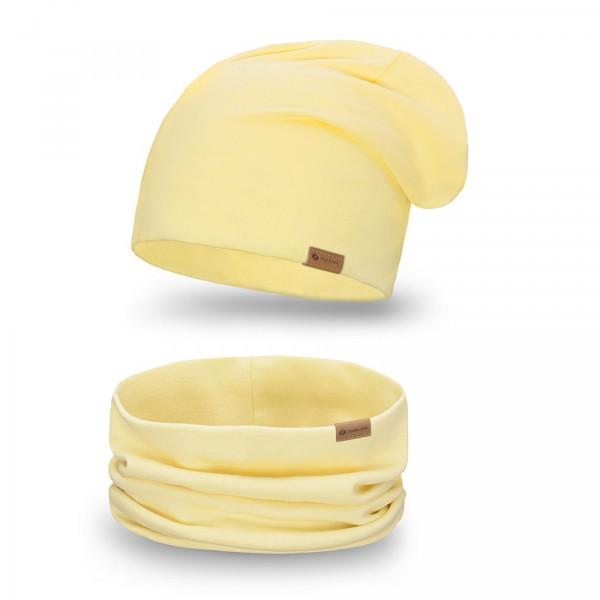 Dámsky set čiapka + nákrčník 77A žltý, Uni, Žltá