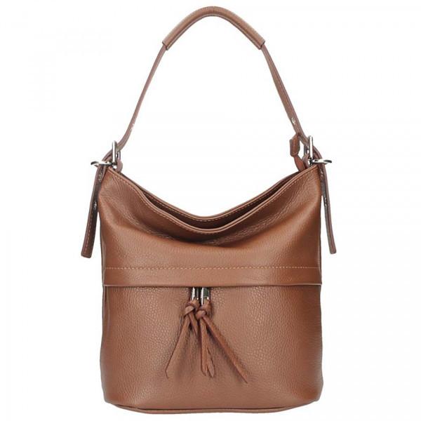 Hnedá kožená kabelka na rameno 631, Hnedá