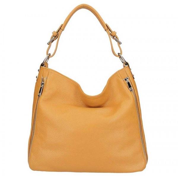Koňaková kožená kabelka na rameno 5310, Koňak