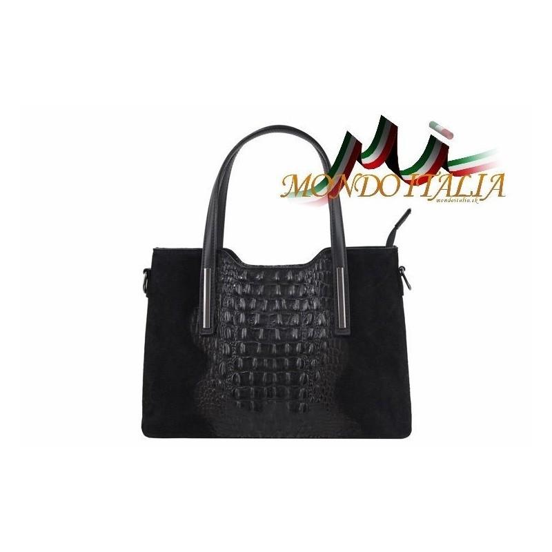 7c7e7e6031 KOŽENÁ KABELKA 1452 čierna MADE IN ITALY 1452 - Trendové kabelky ...
